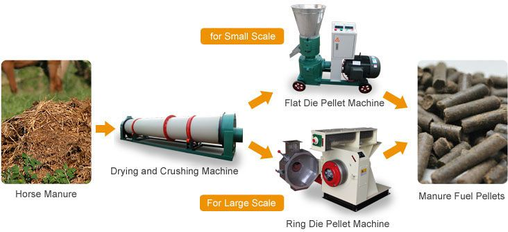 biomass pelleting machine for horse manure and  bedding wastes