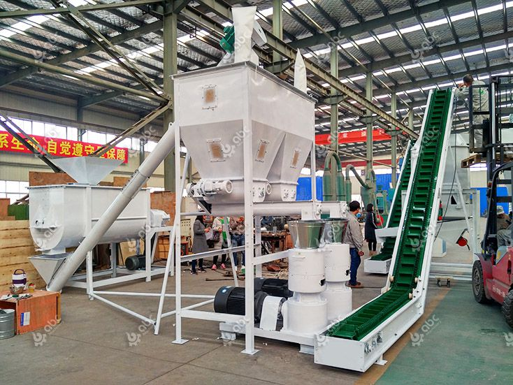 mixing and pelletizing equipment of the cattle feed pellet plant