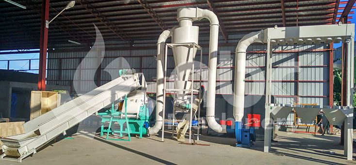 elephant grass crushing machine included in the pelletizing plant
