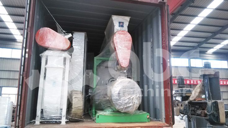 commercial scale feed pellet equipment loading in container
