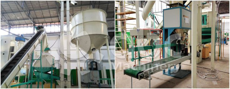 biomass pellets cooling and bagging machine for industrial production line