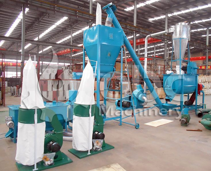 cattle feed processing plant for producing pelletized feed products