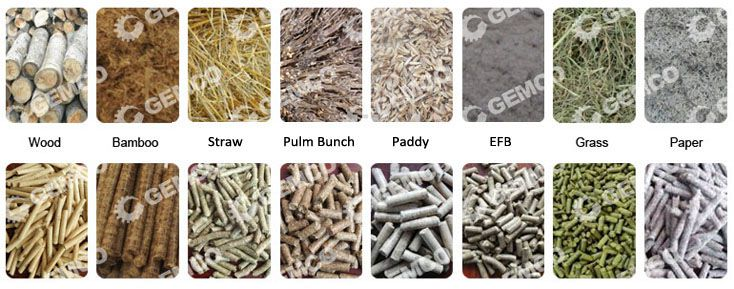 various biomass materials for pelletizing production