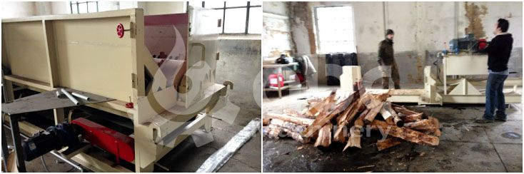 wood log debarking machine and splitting machine for large production line