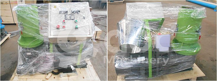 flat plate small wood pellet manufacturing machine being packing